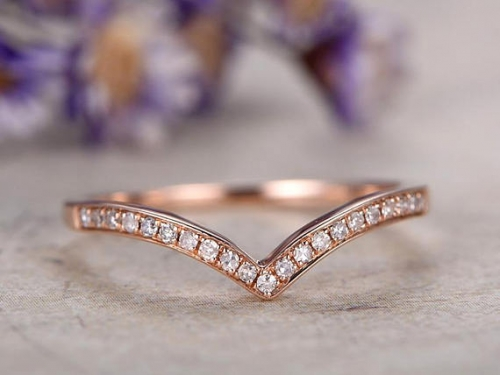 DUPUY 14k rose gold Half Eternity Diamond Wedding Band wedding ring