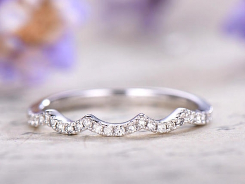 DUPUY 14k white gold Curved Half Eternity Diamond Wedding Band