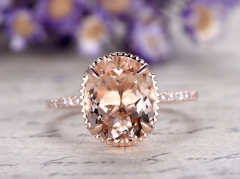 DUPUY 11x9mm oval cut  Morganite engagement ring with diamond