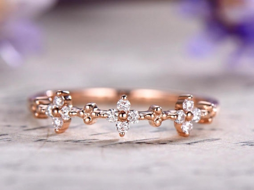 DUPUY 14K rose gold Art Deco Diamond Wedding Band