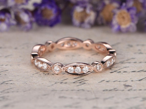 DUPUY 14K rose Gold Full Eternity Diamond marquise set Wedding Band