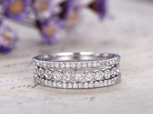 DUPUY 3pcs solid 14k white gold Half eternity natural diamond engagement ring