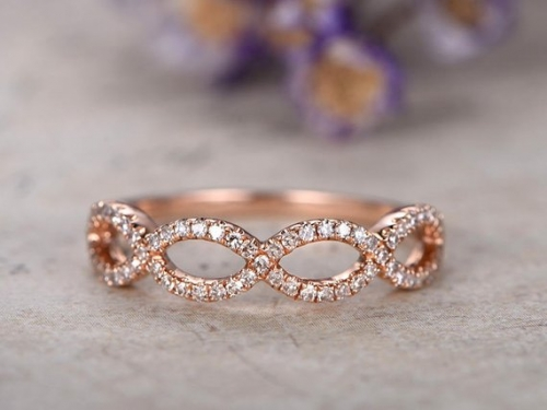 DUPUY 14k rose gold Diamond wedding band