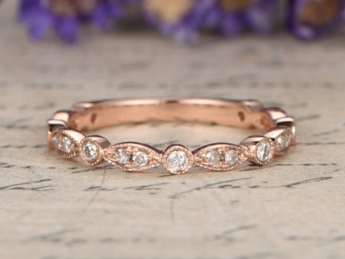 DUPUY 14k rose gold 3/4 Eternity Diamond Wedding Band