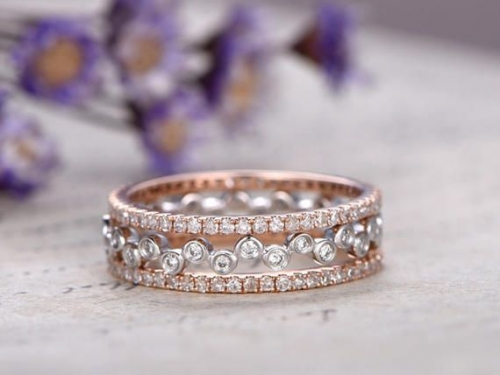 DUPUY 3pcs Full eternity natural Diamond bridal ring set