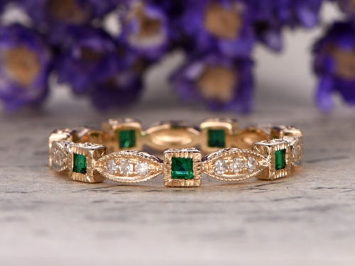 DUPUY 14k Yellow gold Natural princess cut Emerald Diamond ring