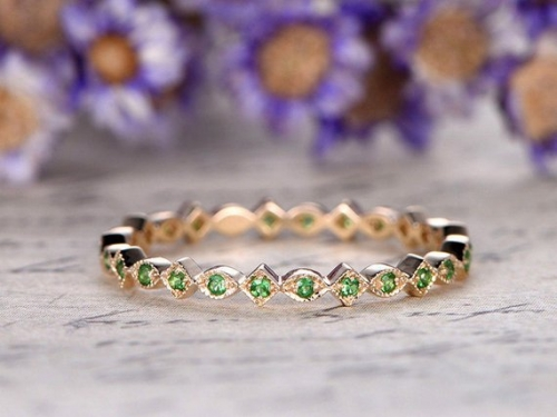 DUPUY solid 14k rose gold full eternity Natural Green Tsavorite  wedding band