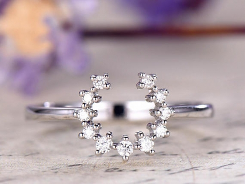 DUPUY 14k white gold floral style Moissanite Wedding Band