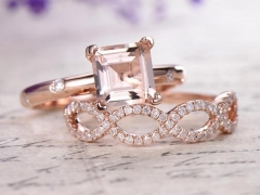 DUPUY 14k Rose gold  Morganite engagement ring  loop curved wedding band