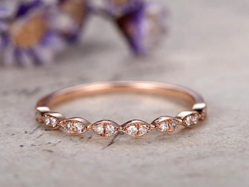 DUPUY 14k rose gold Marquise shape Wedding Band