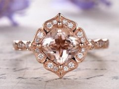 DUPUY 7mm Cushion cut vintage floral Morganite engagement ring