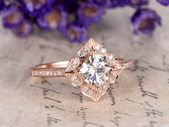 DUPUY rose gold 6.5mm cushion Cut Moissanite  Engagement Ring