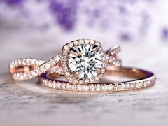 DUPUY twisted diamond band Moissanite Engagement ring