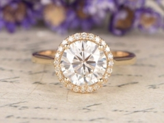 DUPUY 7.5mm Round Cut Moissanite Engagement Ring