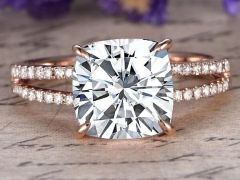 DUPUY FO(GHI)  Cushion cut Moissanite Engagement Ring