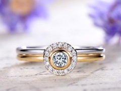 DUPUY 2pc moissanite engagement ring with diamond halo