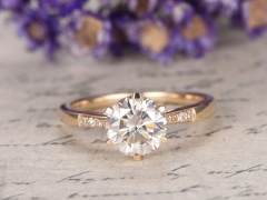 DUPUY 14K yellow gold Moissanite engagement ring with diamond