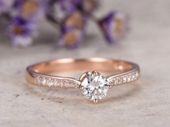 DUPUY rose gold 5mm Round Cut Moissanite Engagement Ring