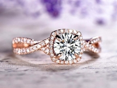 DUPUY twisted diamond band round Moissanite Engagement ring