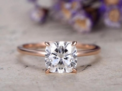DUPUY 1.7 Carat Cushion Moissanite Engagement Ring Solid 14K Rose Gold