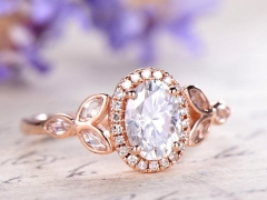 DUPUY rose gold 6*8mm oval Moissanite halo engagement ring