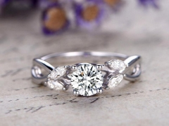 DUPUY Forever One  6.5mm round cut Moissanite engagement ring