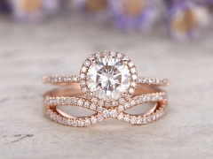 DUPUY 6.5mm Round Moissanite Engagement Ring Curved Loop Diamond Wedding Band