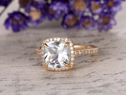 DUPUY 8x8mm Cushion Cut IF Natural Sky White Topaz Engagement Ring