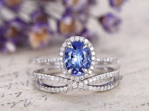 DUPUY 2pcs 6*8mm oval cut Blue Tanzanite Engagement Ring set