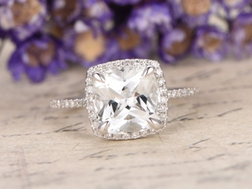 DUPUY Cushion Cut White Topaz Engagement Ring