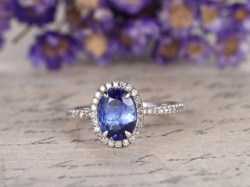 DUPUY 6*8mm oval Natural blue tanzanite Engagement Ring