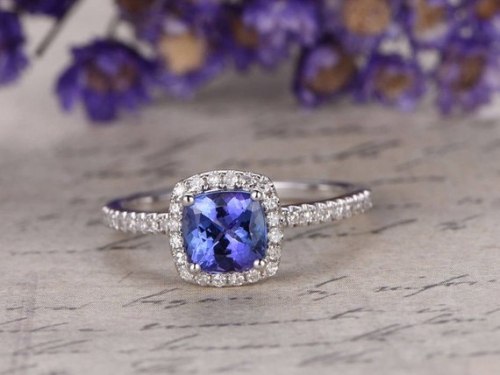 DUPUY Cushion Cut Blue tanzanite Engagement Ring