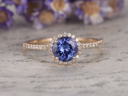DUPUY Natural blue tanzanite Engagement Ring  7mm Round Cut