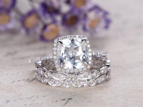 DUPUY 3pcs White Topaz Engagement Ring set