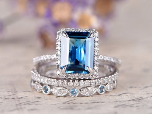 DUPUY 3ps London Blue Topaz  8x10 emerald cut anniversary ring