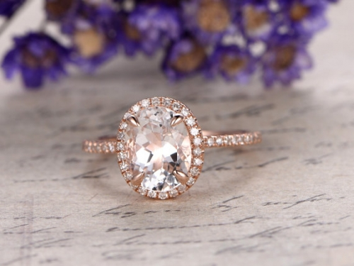 DUPUY 7x9mm oval cut white Topaz engagement ring
