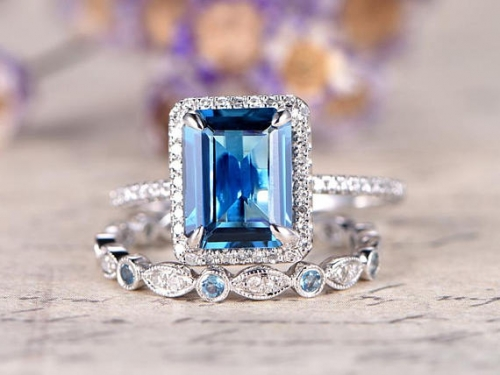 DUPUY London Blue Topaz engagement ring  8x10 emerald cut