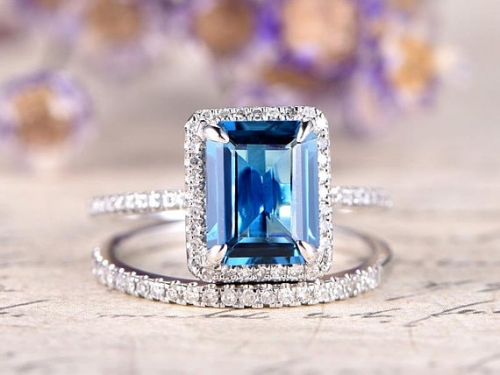 DUPUY 2pcs London Topaz engagement ring  8x10 emerald cut
