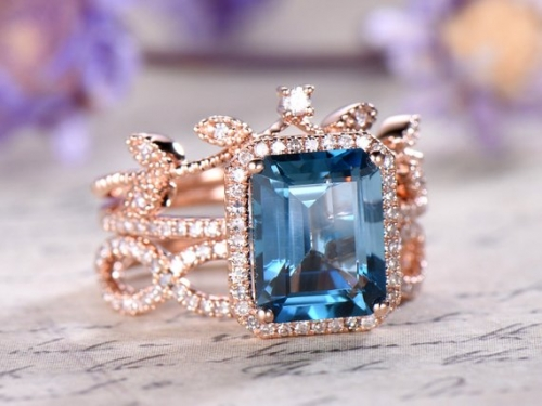 DUPUY 3pos 8x10 emerald cut London Blue Topaz Engagement Ring