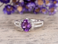 DUPUY 6x8 oval Amethyst split shank engagement ring