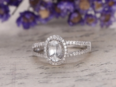DUPUY white gold oval white Sapphire engagement ring