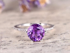 DUPUY 8mm round Amethyst six prongs engagement ring