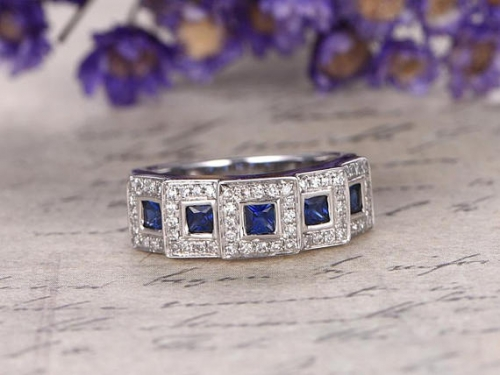 DUPUY 0.60ct Princess Cut Blue Sapphire engagement ring