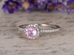 DUPUY 4.5mm round cut Pink sapphire engagement ring