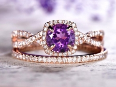 DUPUY Amethyst Engagement ring twisted diamond band