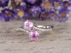 DUPUY 2pcs curved design  Pink sapphire engagement ring