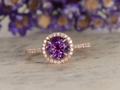 DUPUY Amethyst halo engagement ring  7mm round