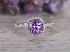 DUPUY halo classic design 7mm round Amethyst engagement ring