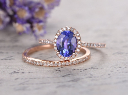 DUPUY 2pcs Oval cut blue Tanzanite bridal ring set
