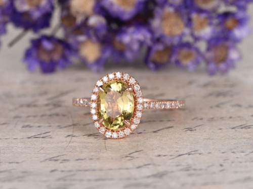 DUPUY 6*8mm oval cut Green peridot engagement ring